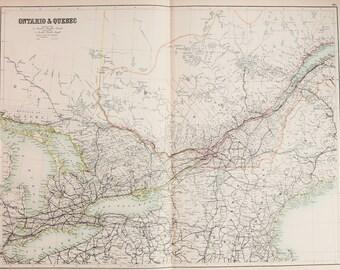 Huge 1897 Blacks Antique Map, Folding Colour Map, Canada, Ontario & Quebec, Detailed Railway (Railroad) Network