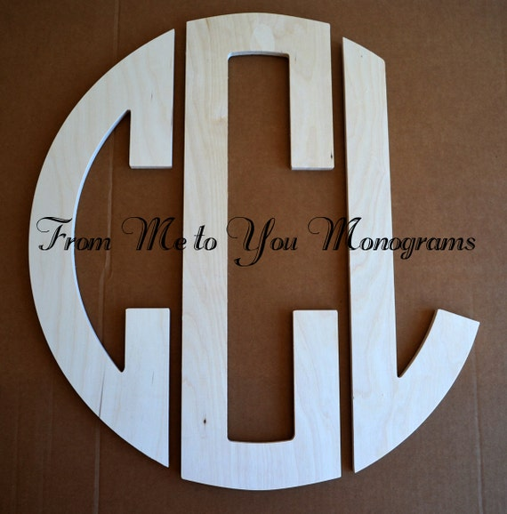 26 inch wood circle monogram 3 letters unpainted and for 3 inch wooden letters