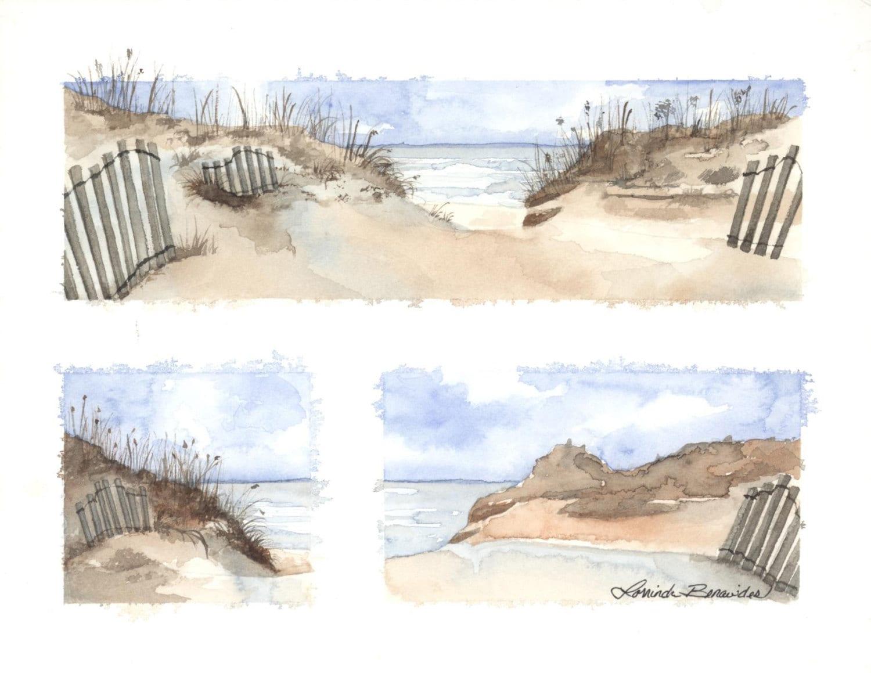 Beach seascape watercolor colored pencil illustration art