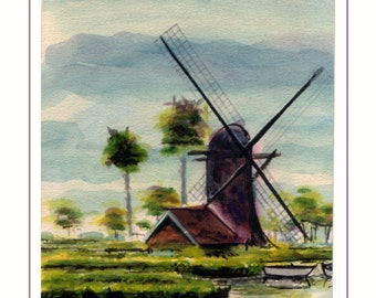 Low Lying Windmill - Fine Art Giclee Print of Original Watercolor Painting