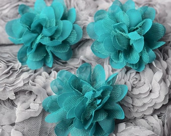 3 Chiffon Tulle Chic Rose Flower Teal Blue Silk Bridal Baby Hair Comb Bow Headband Clip Free Shipping 20USD or more SF046