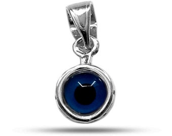 Sterling Silver Greek Key Evil Eye Pendant ( Diameter 7.5mm )