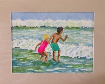 "Jumping Waves at White  Sands Beach, Image 8""X10"" colors blue, green, brown, sand."