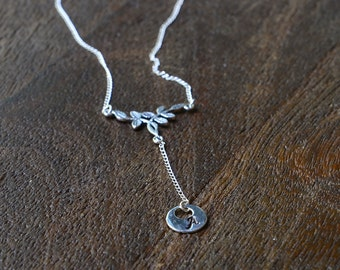 Sterling Silver Vine and Initial Necklace