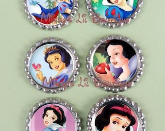 6  Snow White Inspired Finished Bottle Caps-Custom