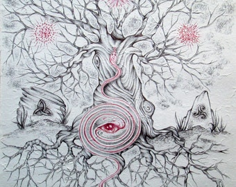 Axis Mundi - Drawing in black and red ink on rice paper.