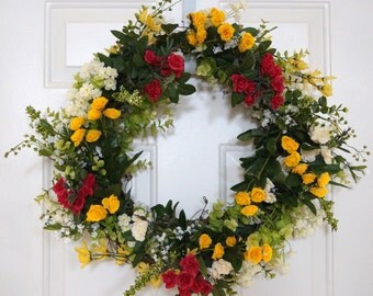 Spring Wreath, Roses Bouquet Summer Wreath, Wildflower Wreath, Roses Wreath,Different sizes available