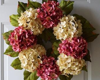 Door Wreath, Wedding Decor, Shabby Outdoor Wedding Flowers, Summer Outdoor Wreaths,Pink Cream Green Hydrangea Decor