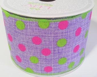 "2 1/2"" Canvas Vibrant Dots Ribbon - Purple - 10 Yards"