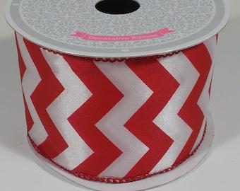 "2 1/2"" Large Chevron Print Ribbon - Red / White - 10 Yards"