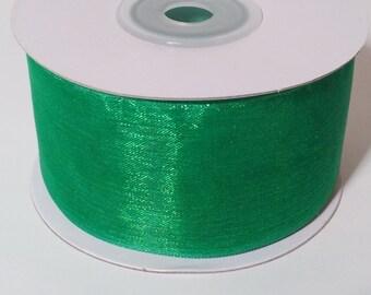 Sheer Organza Ribbon - Emerald - 25 Yards