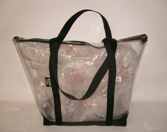 clear beach tote,transparent tote,pink tote or beach tote,airport Security tote,Made in U.S.A.