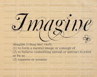 Digital Print, Instant Download, Imagine Poster, Imagine Art, Imagine Print, Text Art, Typography Print, Words, Digital Image Download b046