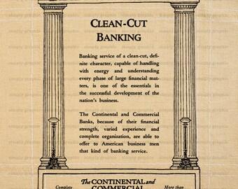 Vintage Bank Advertising, Vintage Bank Ads, Instant Download, Vintage Advertising, Burlap Digital Paper, Printable Graphics, Fabric b584