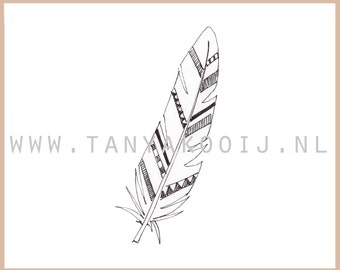 Pretty handrawn feather. Ideal as digital clipart for your logo and businesscard.