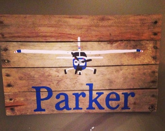 Personalized Cessna airplane pallet art