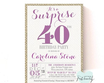 Surprise 40th Birthday Party Invitation Any Ages Muted
