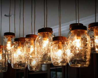 14 Lights - Mason Jar Chandelier - Rustic Cedar - Ready to Hang