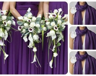 Set of Three Purple Shawls, Wedding Shawl, Dark Violet Pashmina, Bridesmaid Shawl,Bridesmaid Gift,Wedding Wrap,Solid Color Scarf