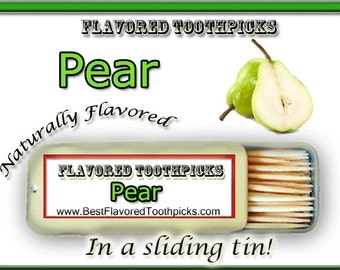 Pear Flavored Toothpicks - 70+ Flavors! All Natural, Sugar Free, Candy, Wood, Wooden, Toothpick, Homemade Recipe, Unique Candy, Weight Loss,