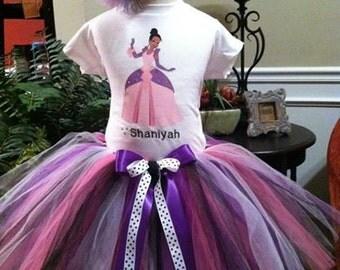 Princess Tiana Birthday Tutu set any size available 12m to 8y FREE Headband