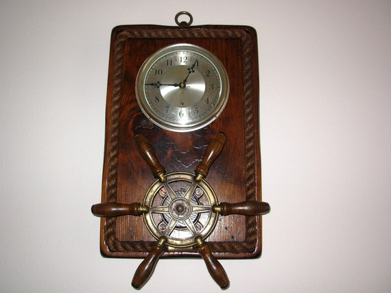 Vintage Nautical Wall Decor Clock & Ship's By