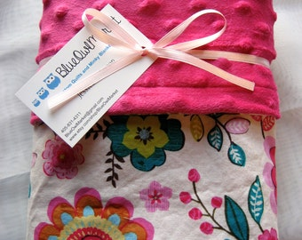 Minky Baby Blanket - 30x36 - Pink Florianne on the front with pinky minky dot - Handmade - Ready to ship!