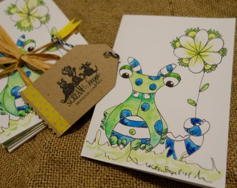 Free Shipping-Monster Thank You Card Pack-Handmade-5 Cards/5 Envelopes-Blue-Green