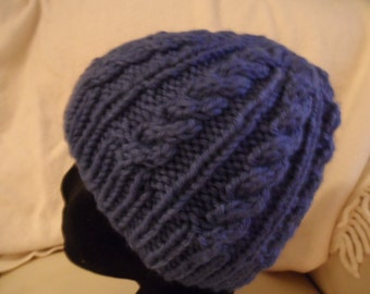 cabled beanie and fingerless gloves