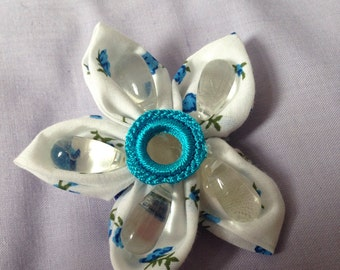 Beaded and fabric flower