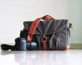Koi in Grey - Canvas Camera / DSLR Camera Bag / Waxed Base Strap Padded / Water Resistant Fabric Interior / Man / Woman's Messenger Handbag