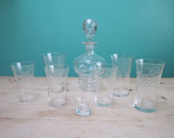 Vintage Art Nouveau Etched Glassware Harlequin Set of Decanter and Glasses