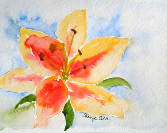 Yellow Daylily Watercolor Notecard