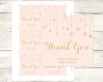 pink gold wedding custom favor tags pink gold glitter hearts wedding thank you cards pink gold wedding custom favour tags