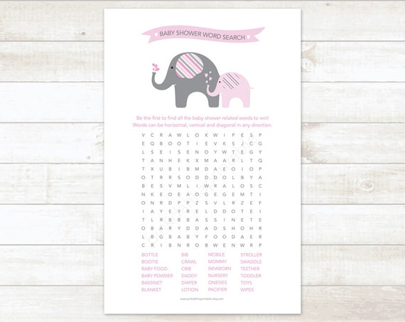 Versatile image with free printable baby shower word search