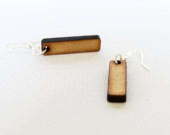 Rectangular laser cut wood earrings