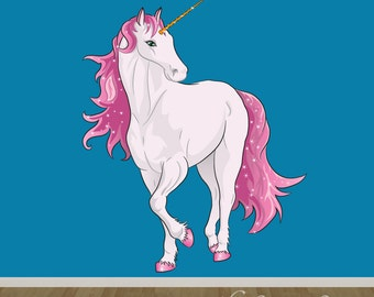 Unicorn Wall Decal, Fabric Wall Decal, Wall Sticker Decals, Girls Wall Decal, REUSABLE