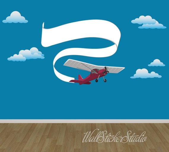 Airplane with banner decal kids fabric decal stickers for Childrens airplane fabric