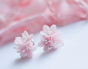 Pink Sakura Stud Earrings Handcrafted Polymer Clay Flowers