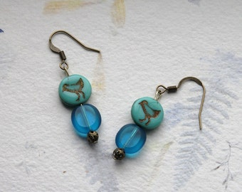 Turquoise and gold bead earrings with birds