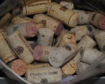 100 (+ a few more for luck)  Used Wine Corks from Charles Shaw   - Same Natural Recycled Wine Corks