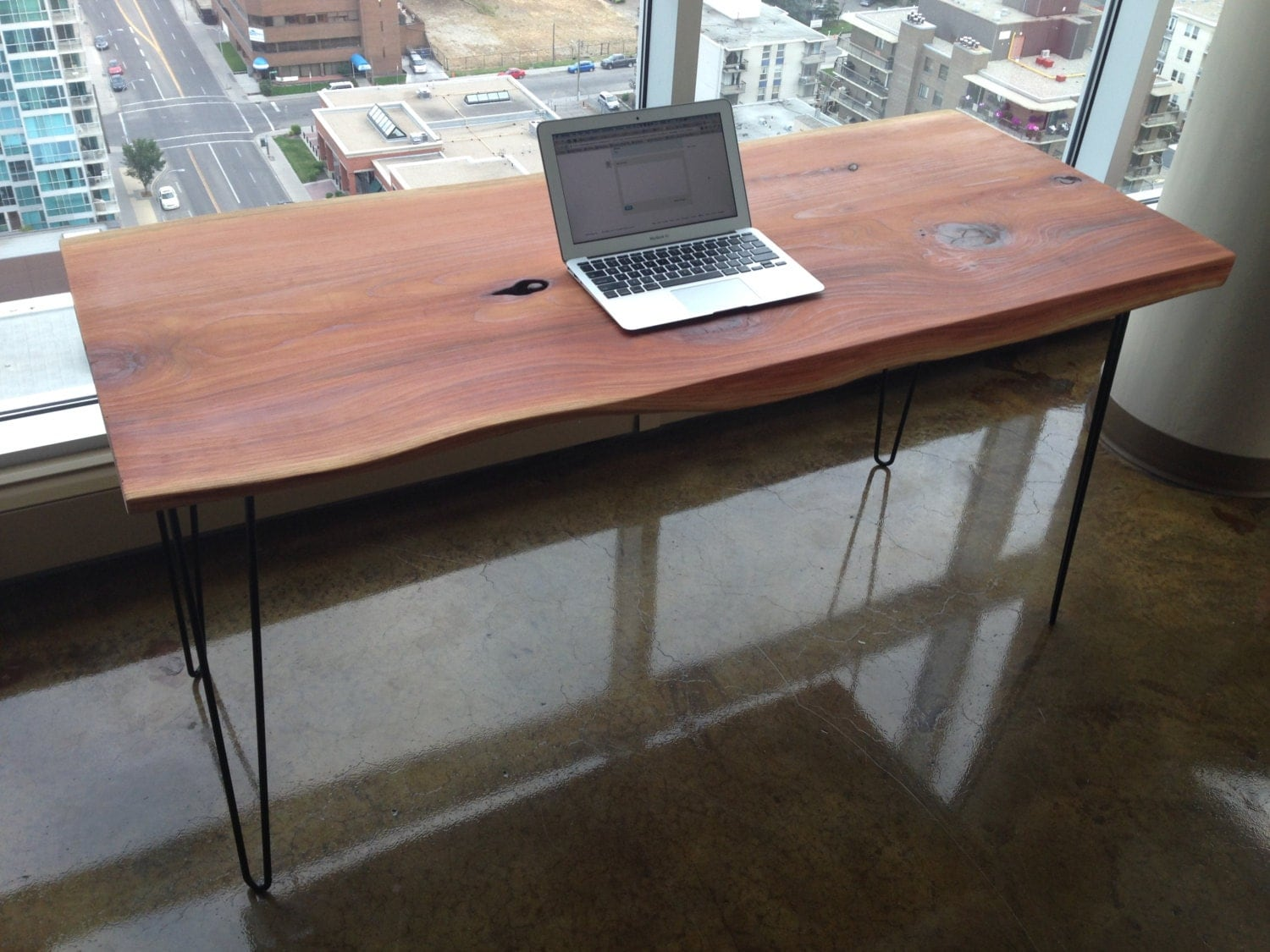 Solid Wood Desk Computer Table Live Edge Wood Mid Century