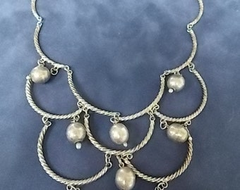 Vintage Estate Sterling Silver .925 Victorian Style Necklace 36.14g #E873