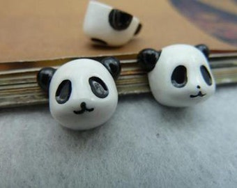 20 pcs 12mm Lovely White Resin Panda Cabochons Cameos Cabs No Holes c5610