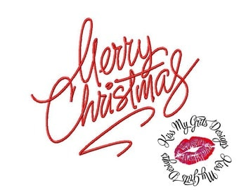 Merry Christmas Script 1  Machine Embroidery Design