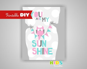 Printable DIY Nursery Quote Print, Pink, Aqua, Grey, Owl, You are my sunshine, 8x10 JPG file ( 005spap )