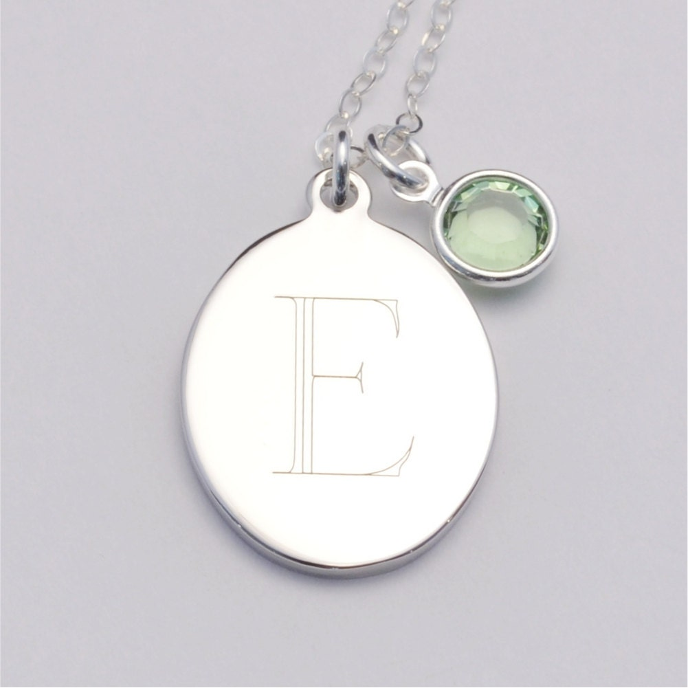 oval custom engraved initial charm necklace including