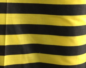 """Poly Cotton Print Thick Stripes Black and Yellow 60"""" Fabric by the Yard - 1 Yard"""