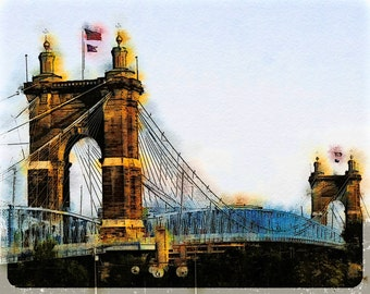 Cincinnati Roebling Suspension Bridge: Photographic Watercolor Art of the Bridge in Cincinnati, Ohio