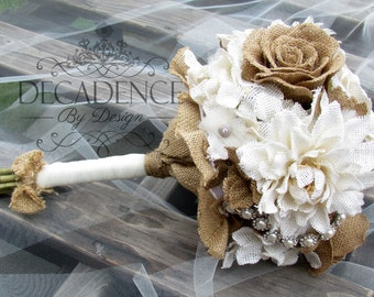 Burlap Bouquet,  Burlap Flower Bouquet, Cottage Chic, Country Chic, Handmade with Rhinestone and Pearl Trim